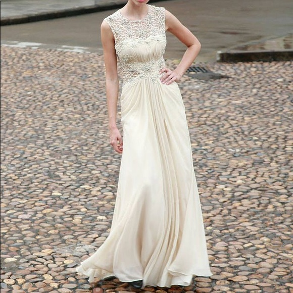 Ecru Embroidered A Line Gown